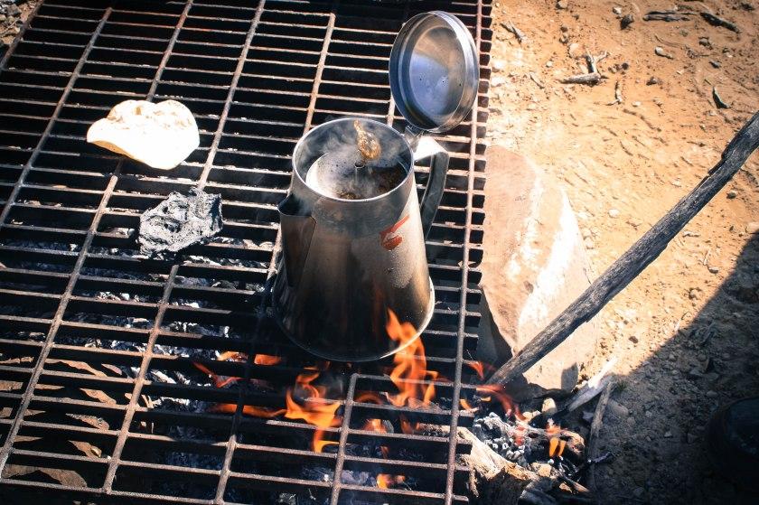 café en campamento